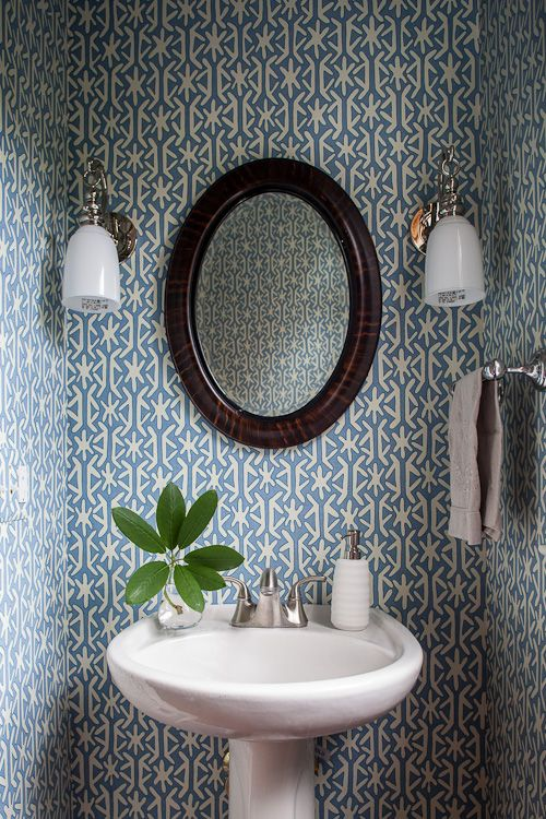 graphic wallpaper in a small powder room Bathrooms Pinterest 500x750