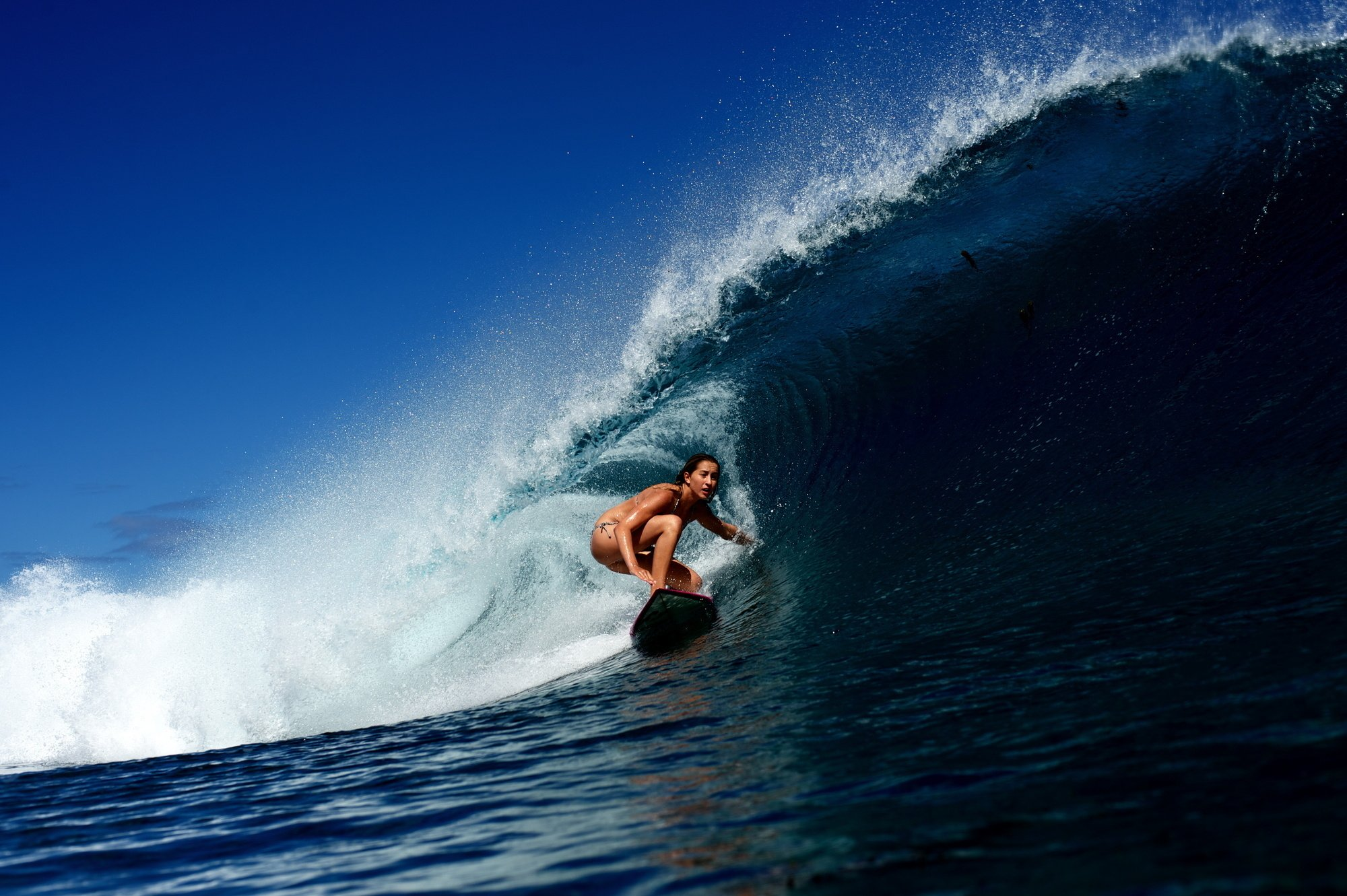 Wave surfing girl surfing ocean bikini sexy babe wallpaper 2000x1331 2000x1331