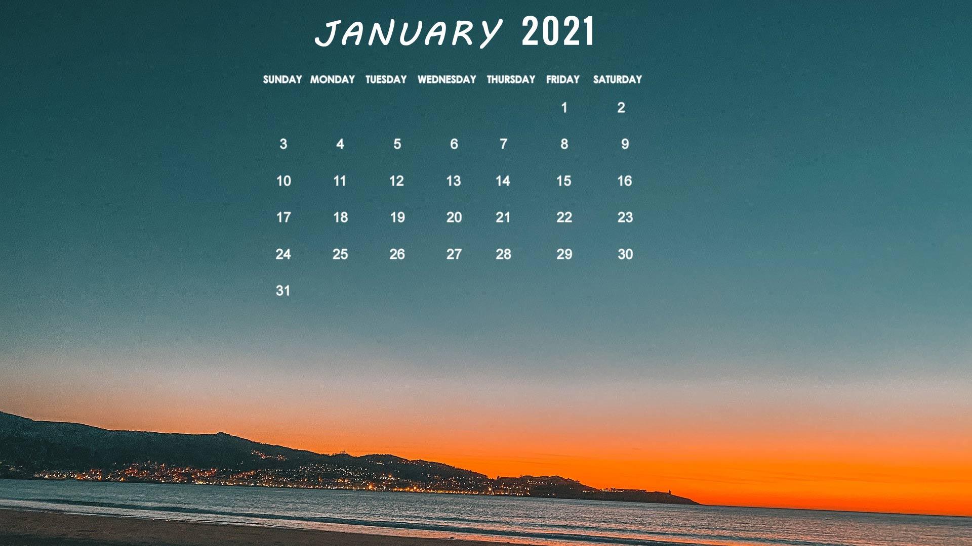 January 2021 calendar wallpaper desktop laptop computer background 1920x1080