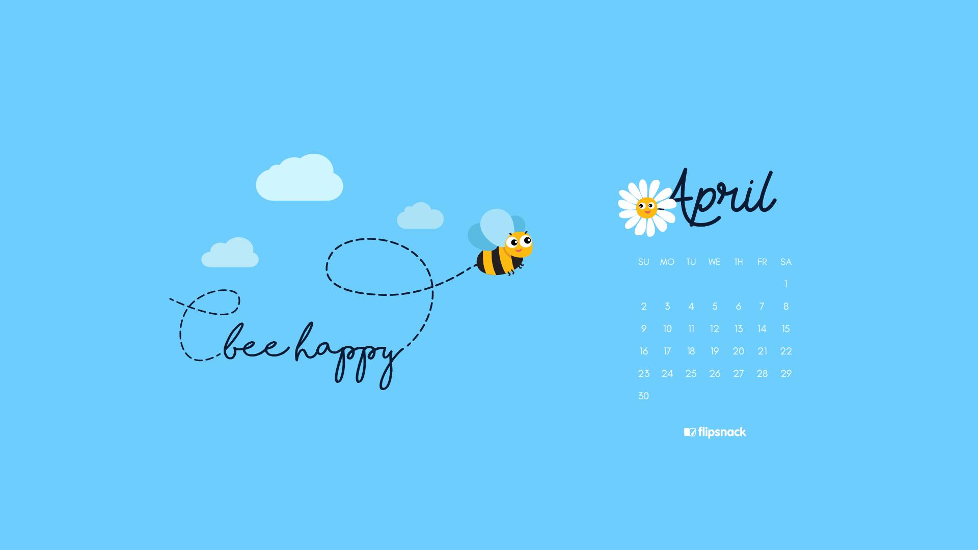 Freebie April 2017 wallpaper calendar desktop background 1920x1080