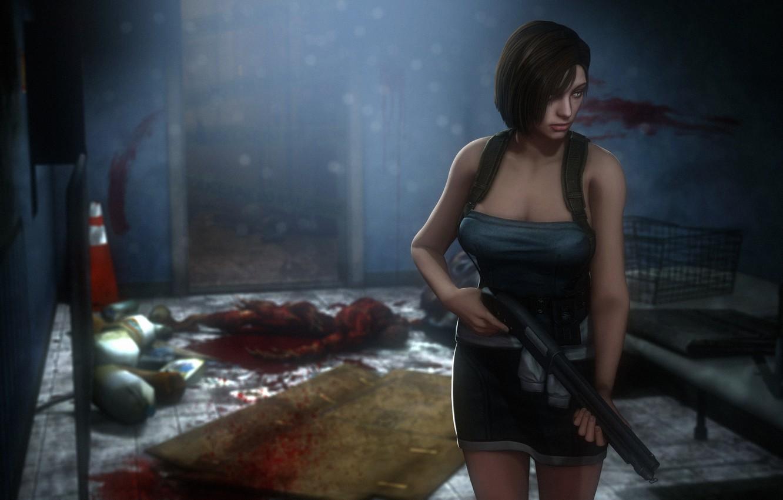 Wallpaper chest girl rendering shotgun capcom jill valentine 1332x850