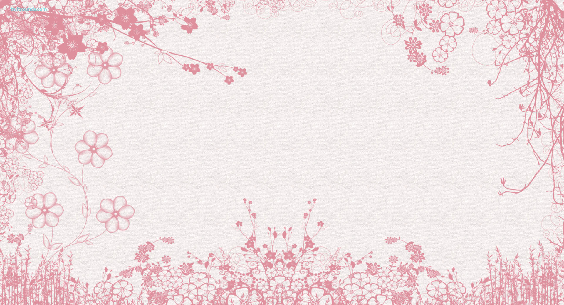 White Pink Flowers Wal...