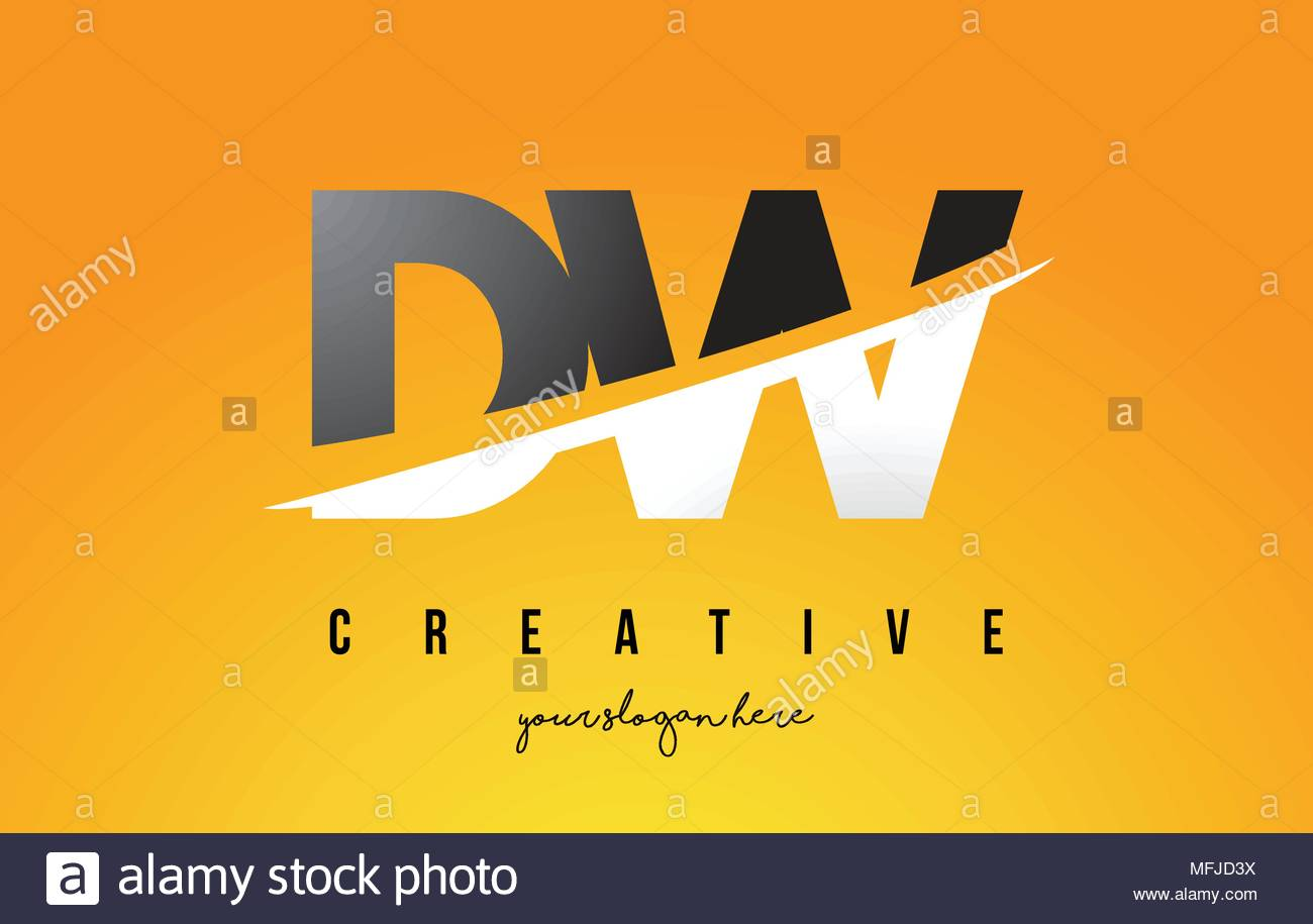 DW D W Letter Modern Logo Design with Swoosh Cutting the Middle 1300x915