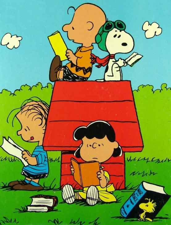 The Peanuts Gang Reading computer desktop hd wallpapers backgrounds 554x726