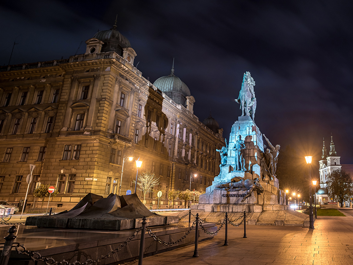 Wallpaper Krakow Poland Monuments Grunwald Monument Street 1152x864