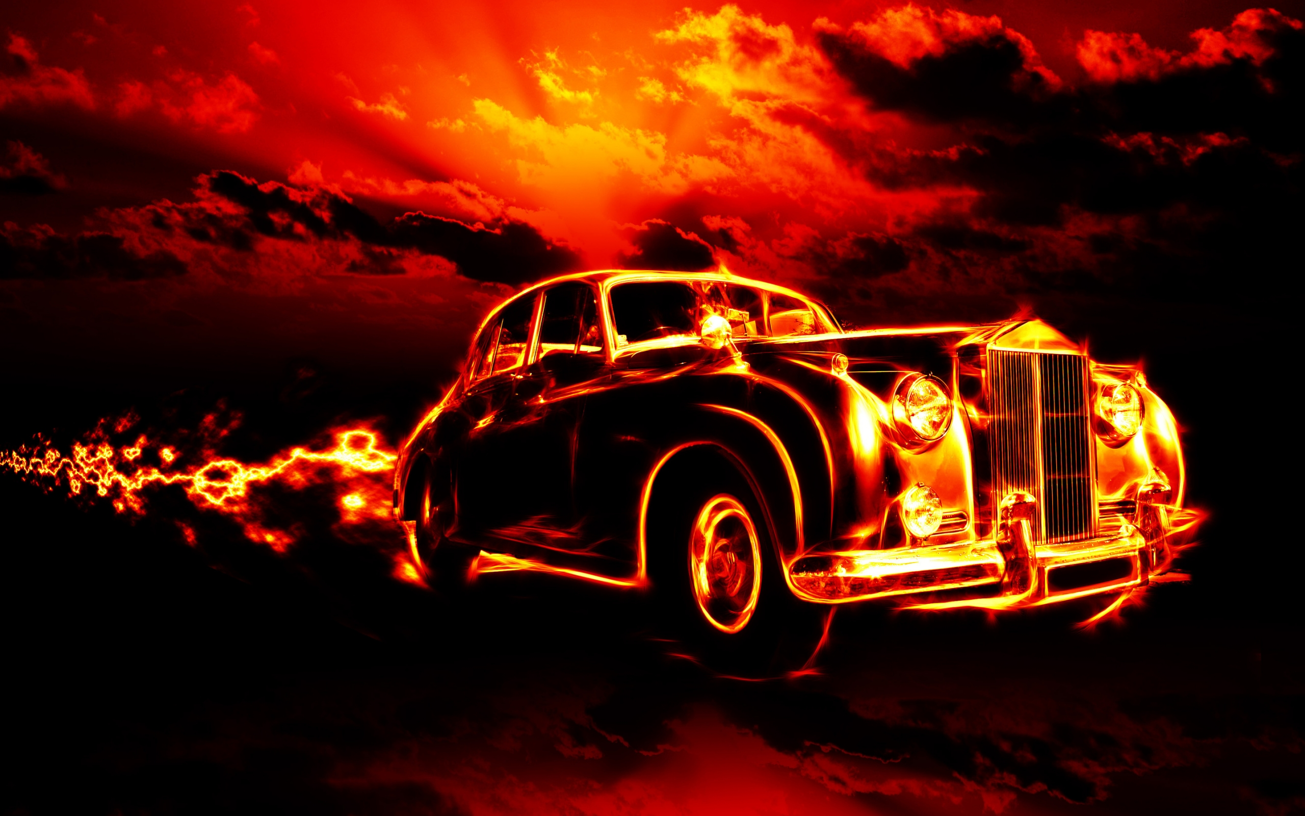 Car in Fire wallpapers and images   wallpapers pictures photos 2560x1600