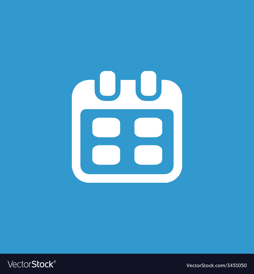 Calendar icon white on the blue background Vector Image 1000x1080