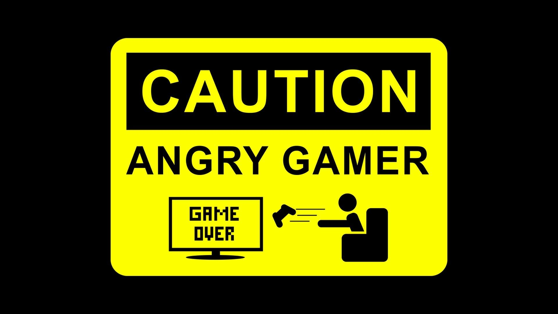 CAUTION Angry Gamer HD Wallpaper 1920x1080