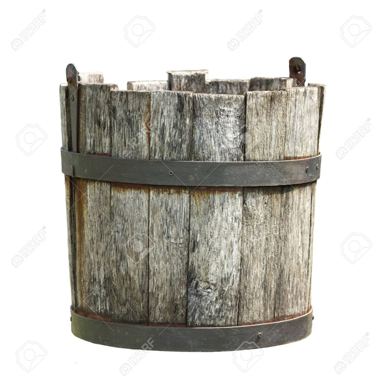 Old Wooden Bucket Of Water Hanging On A White Background Stock 1300x1284