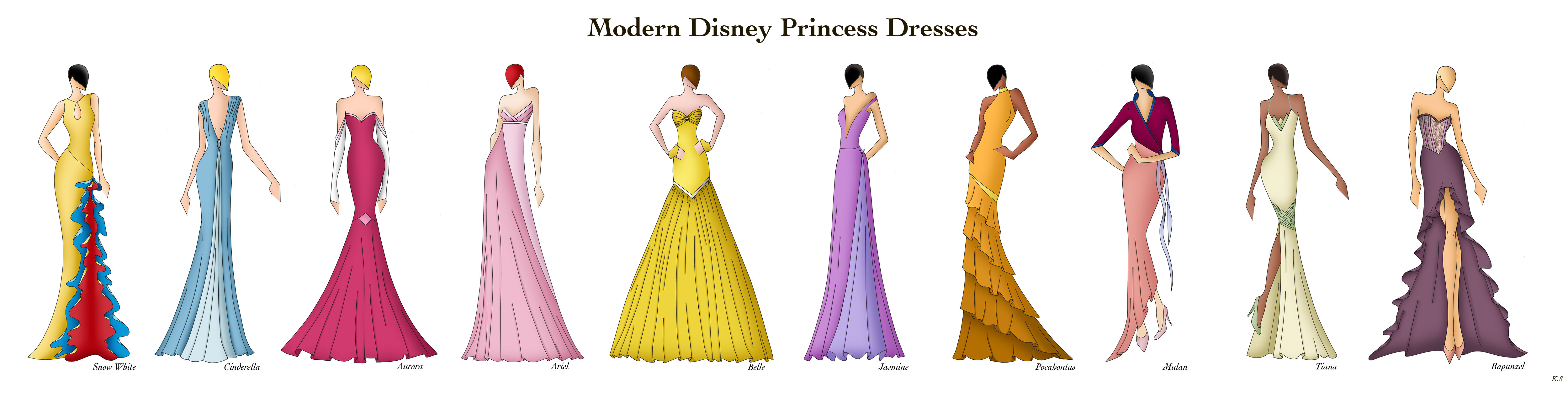 Modern Disney Princess Dresses by Ellevira 5000x1283