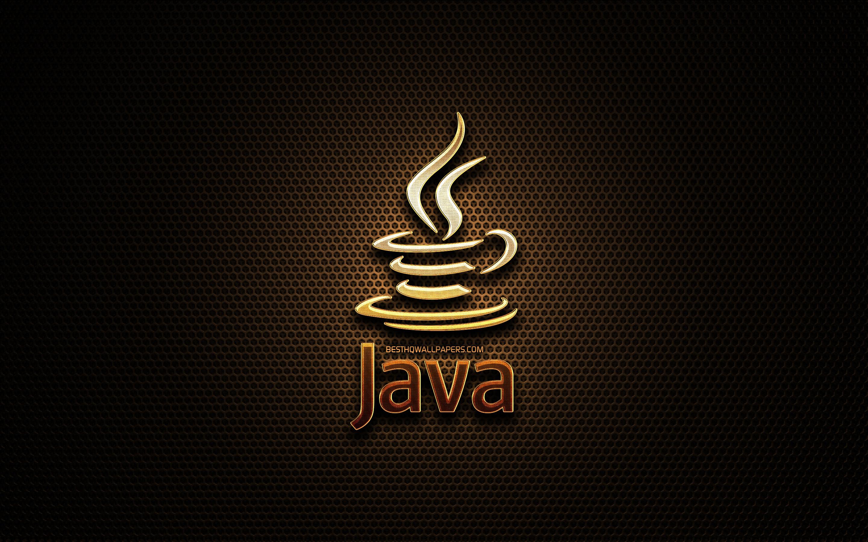 Download wallpapers Java glitter logo programming language grid 2880x1800