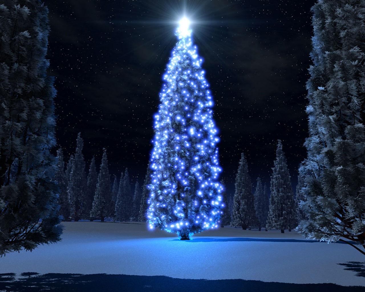 1280x1024 Christmas blue tree desktop PC and Mac wallpaper 1280x1024