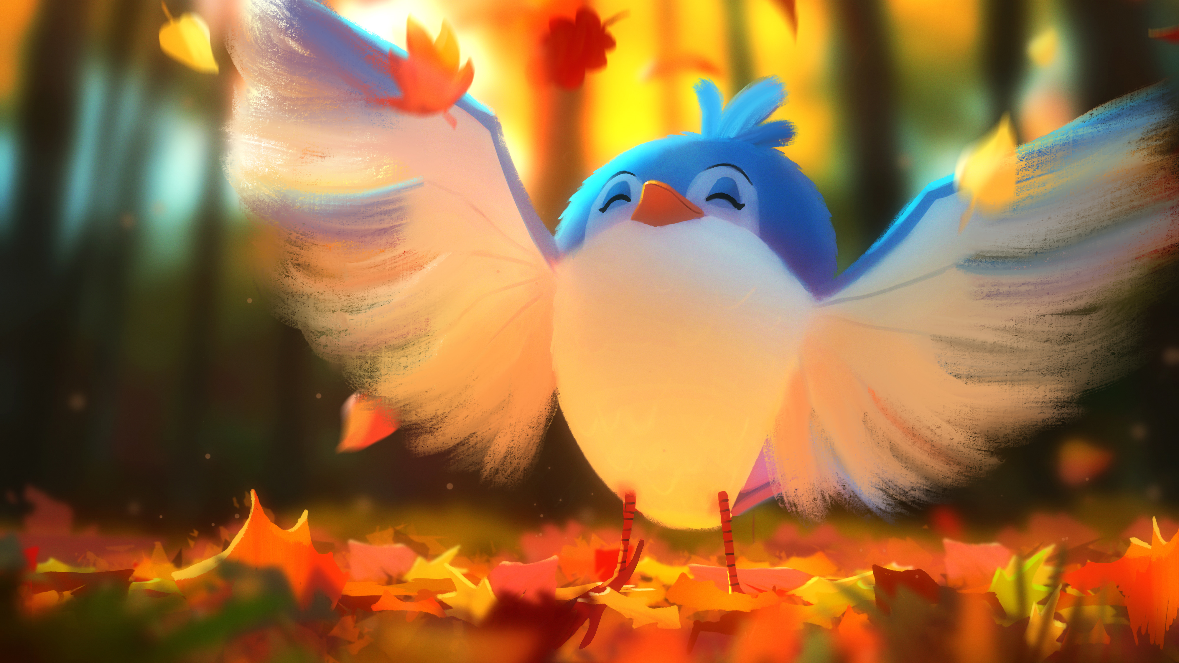 Cute Bird Digital Art 4k Hd Wallpapers   Procreate App 853019 4000x2250