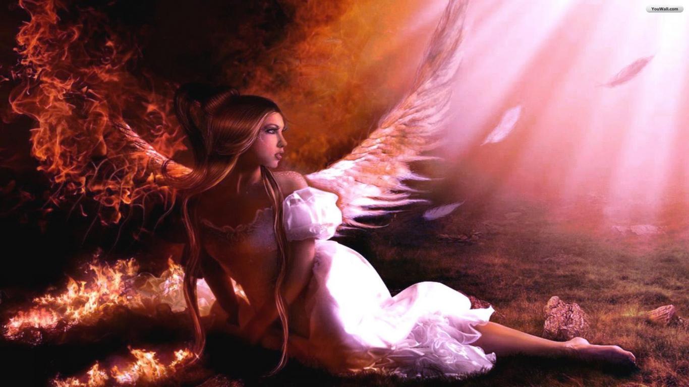 YouWall   Fallen Angel Wallpaper   wallpaperwallpapersfree wallpaper 1366x768
