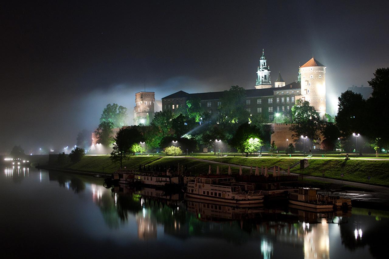 Photo Krakow Poland Night Rivers Cities Houses 1280x853