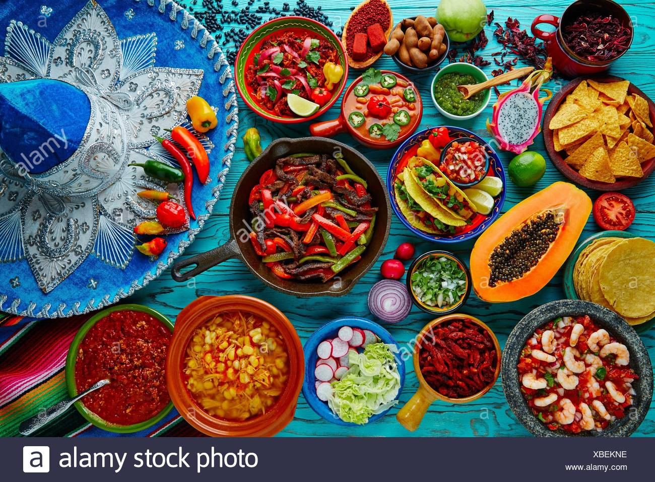 Mexican food mix colorful background Mexico and sombrero Stock 1300x956