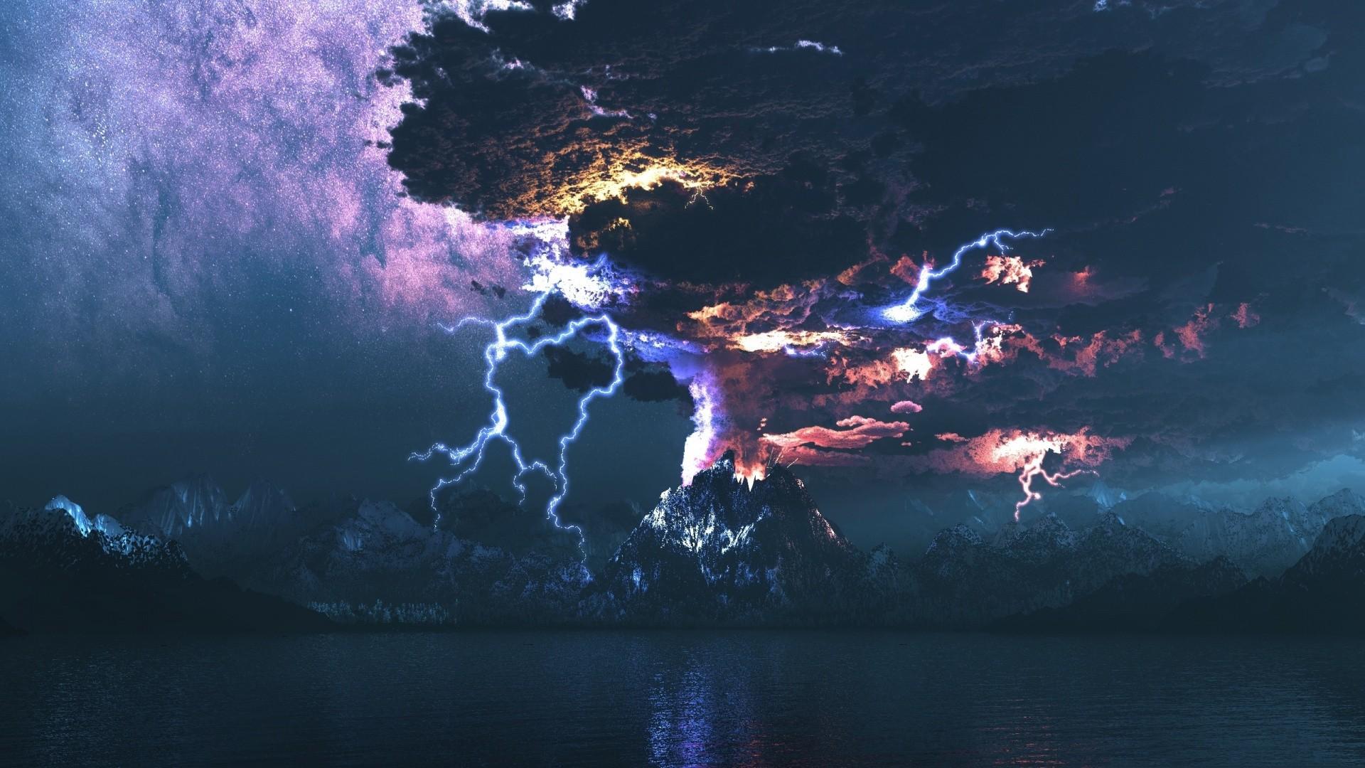 Volcano Storm Lightning HD Wallpaper FullHDWpp   Full HD 1920x1080