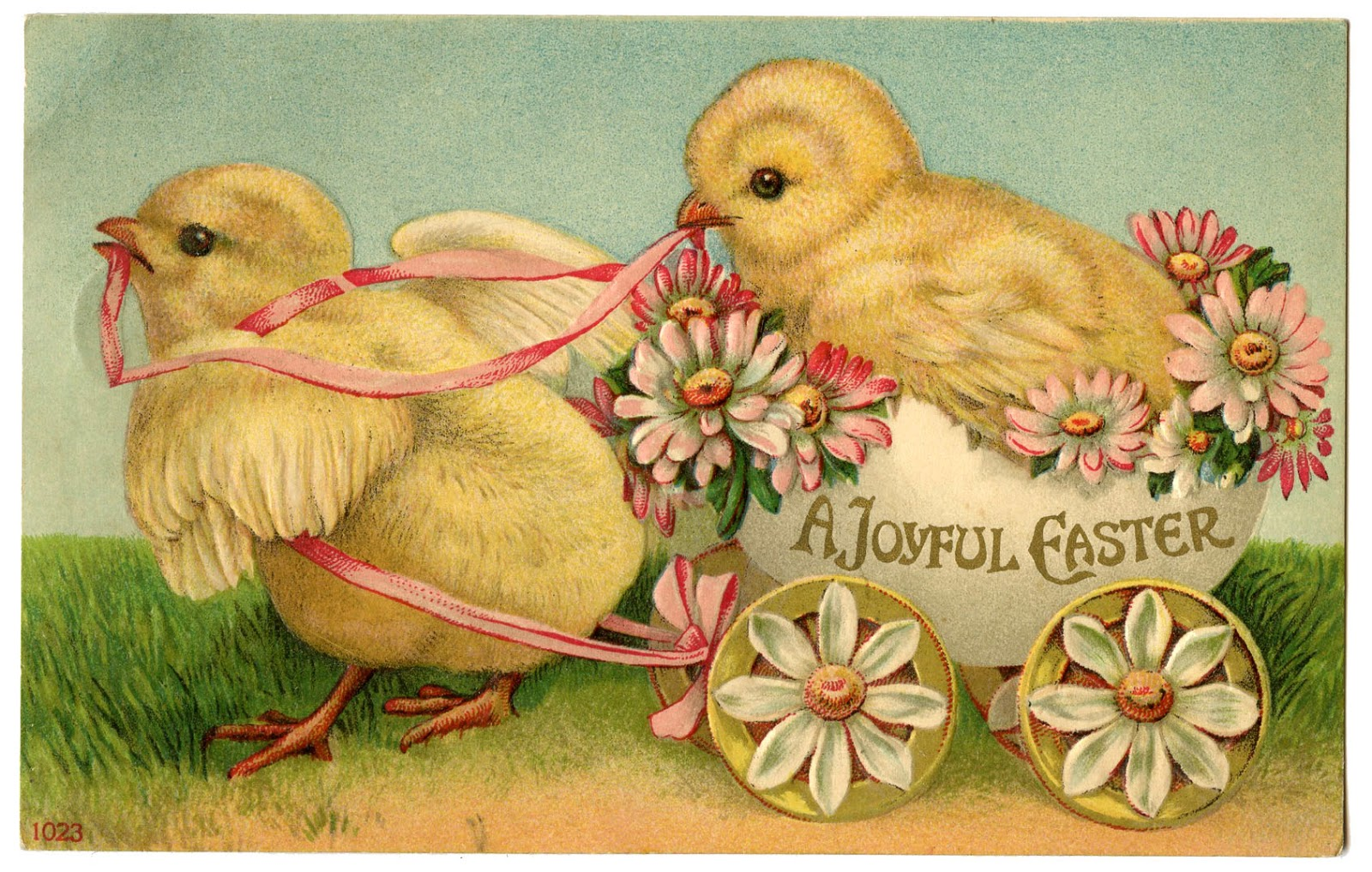 Stock Image   Easter Chicks in Egg Cart   The Graphics Fairy 1600x1017