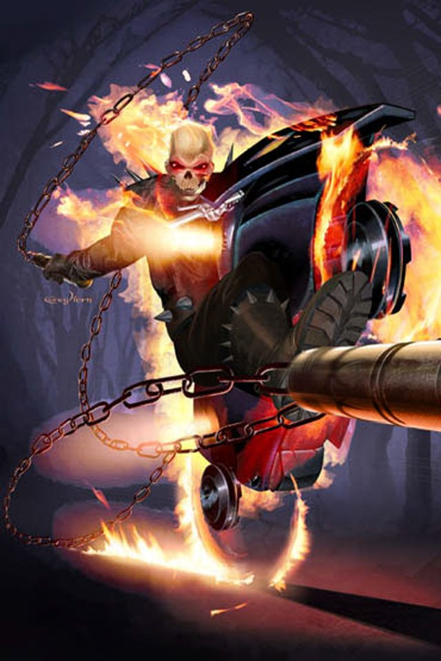 Ghost Rider I4 drawns cartoons wallpaper for iPhone download 640x960