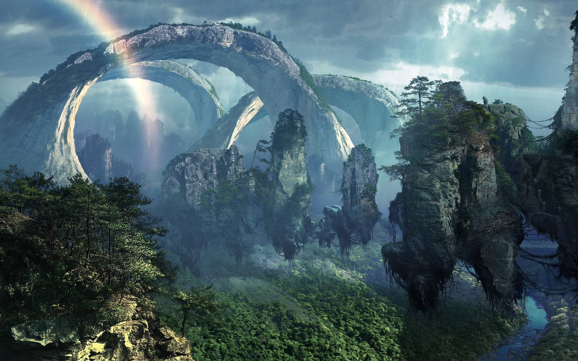 Fantasy nature art magic island surreal dream wallpaper 1920x1200 1920x1200