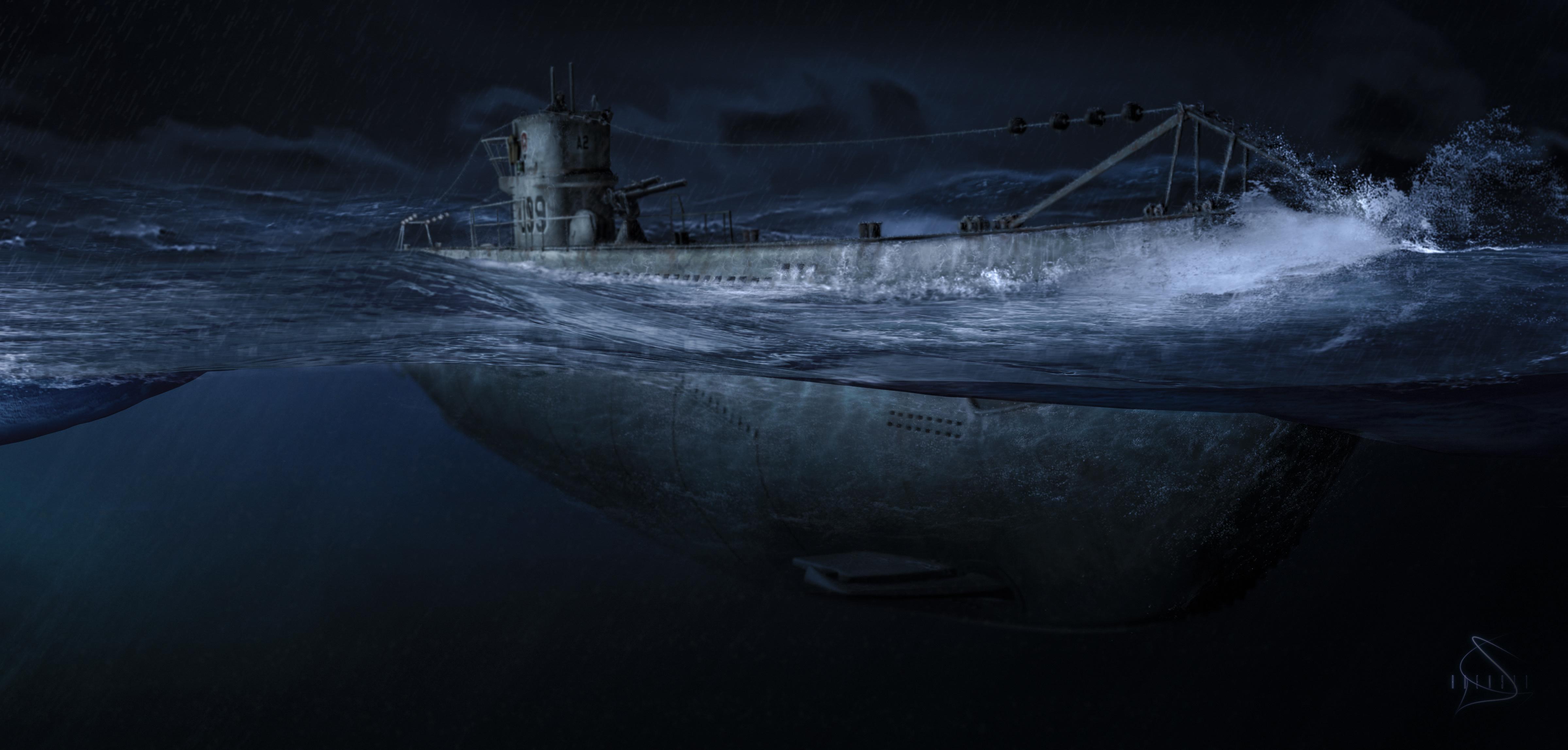 Ocean night submarine art military wallpaper 4797x2295 228388 4797x2295
