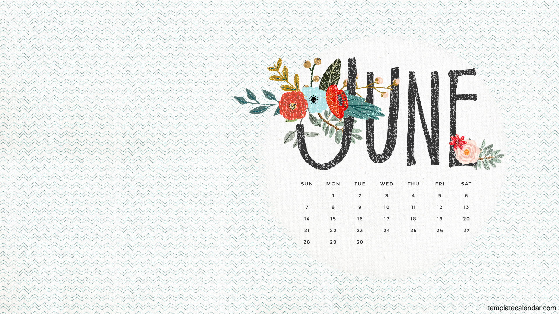 June 2016 Wallpaper With Calendar   Printable Monthly Calendar 1920x1080