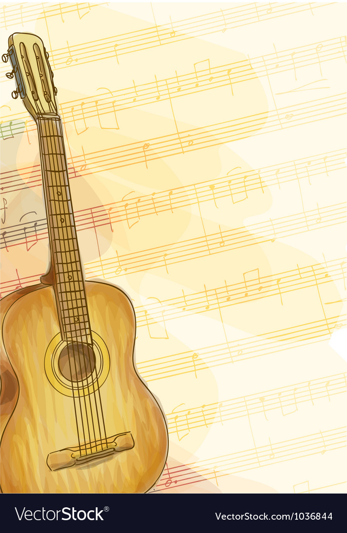 Guitar on music background Royalty Vector Image 703x1080