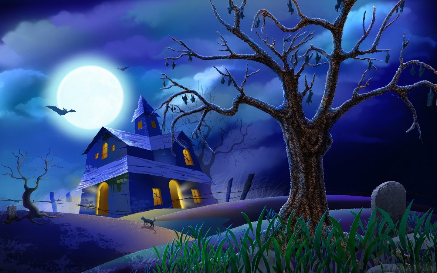 Wallpaper Halloween Scary House HD Wallpaper Animated HD Wallpaper 1440x900