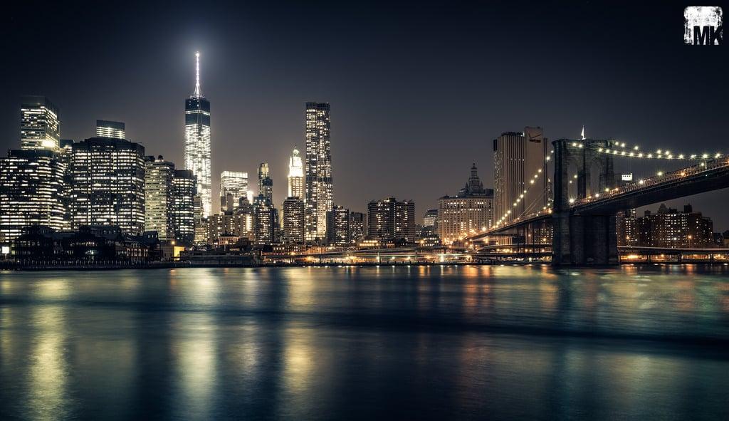 Freedom Tower At Night Wallpaper Nyc skyline brooklyn bridge 1024x591