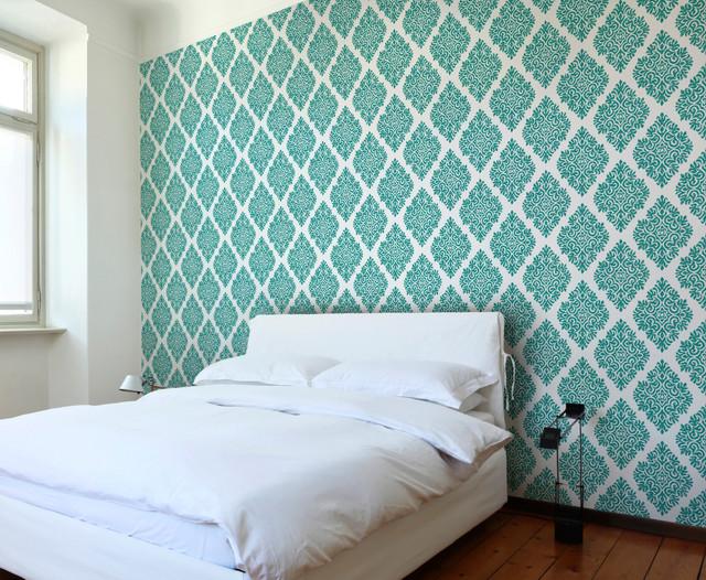 French Garden Damask Teal Wallpaper Tiles   Modern   Wallpaper   los 640x526