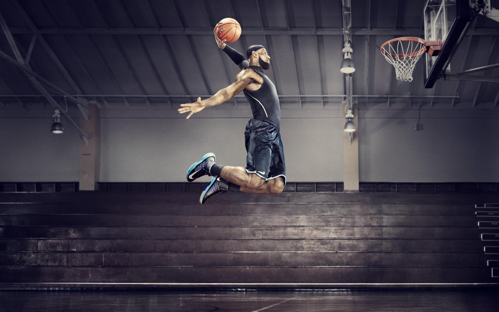 Hi84 Lebron James Nba Basketball Dunk Wallpaper: LeBron James Slam Dunk Wallpaper