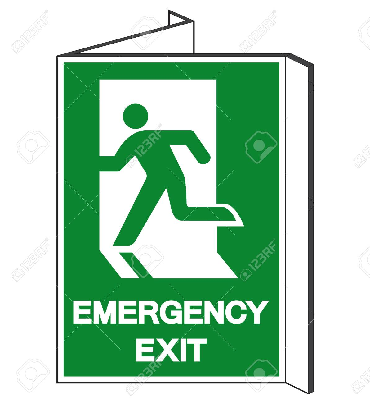 Emergency Exit Symbol Sign Vector Illustration Isolate On White 1193x1300