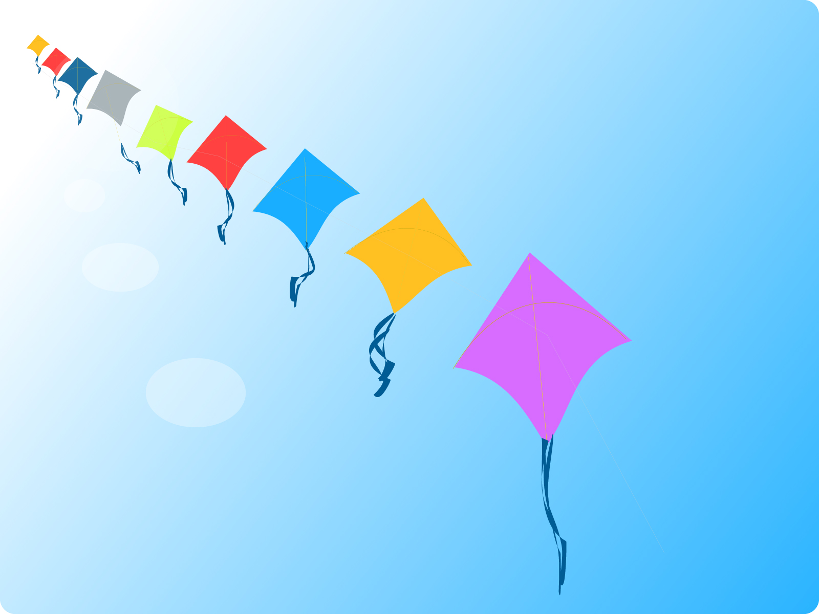 Row of Kites Backgrounds Cartoon Games Templates PPT 1600x1200