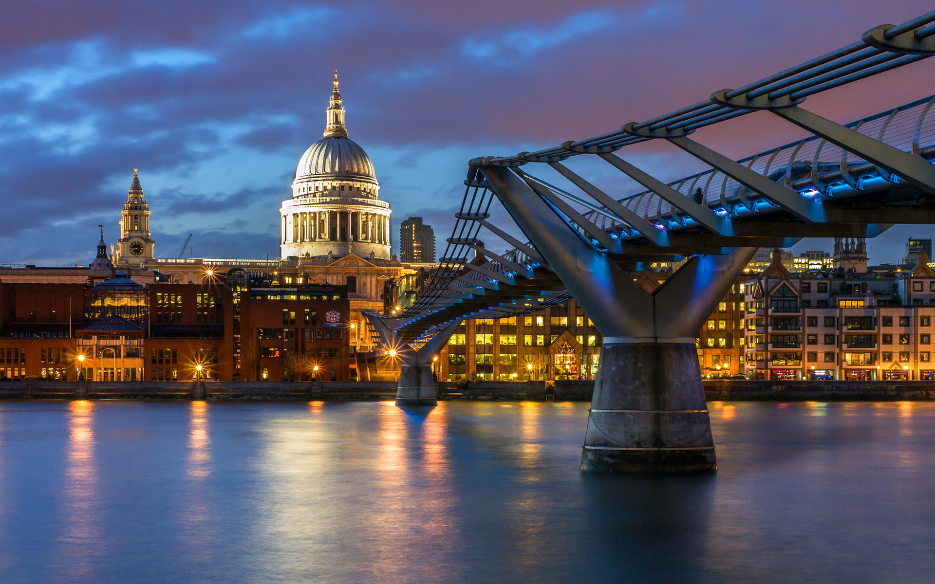London Millennium Bridge Lights HD Wallpapers 1920x1200