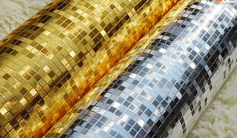 Wallpaper Gold Foil Silver Foil TV Background Wall Ceiling Wallpaper 915x533