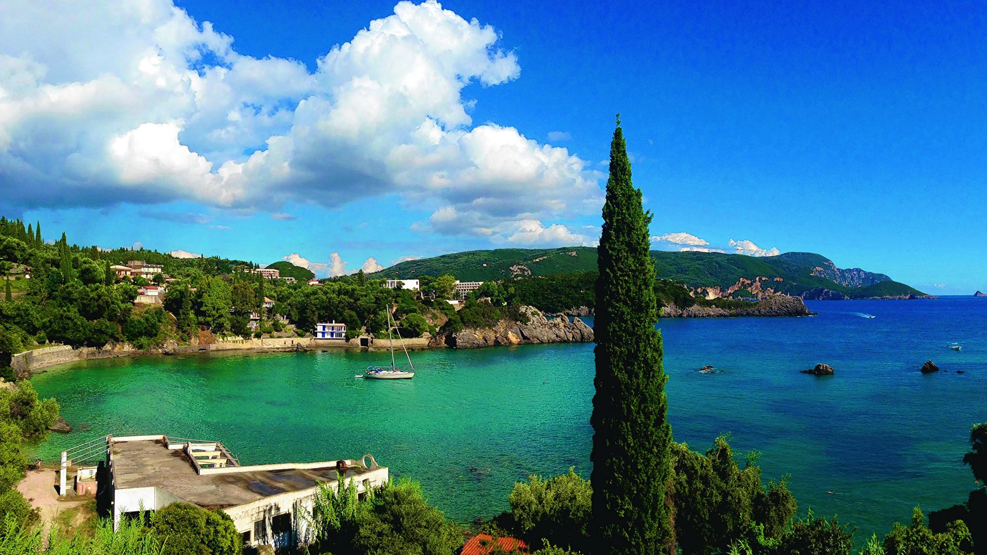 Photos Greece Corfu Sea Nature Scenery Coast Clouds 1920x1080 1920x1080