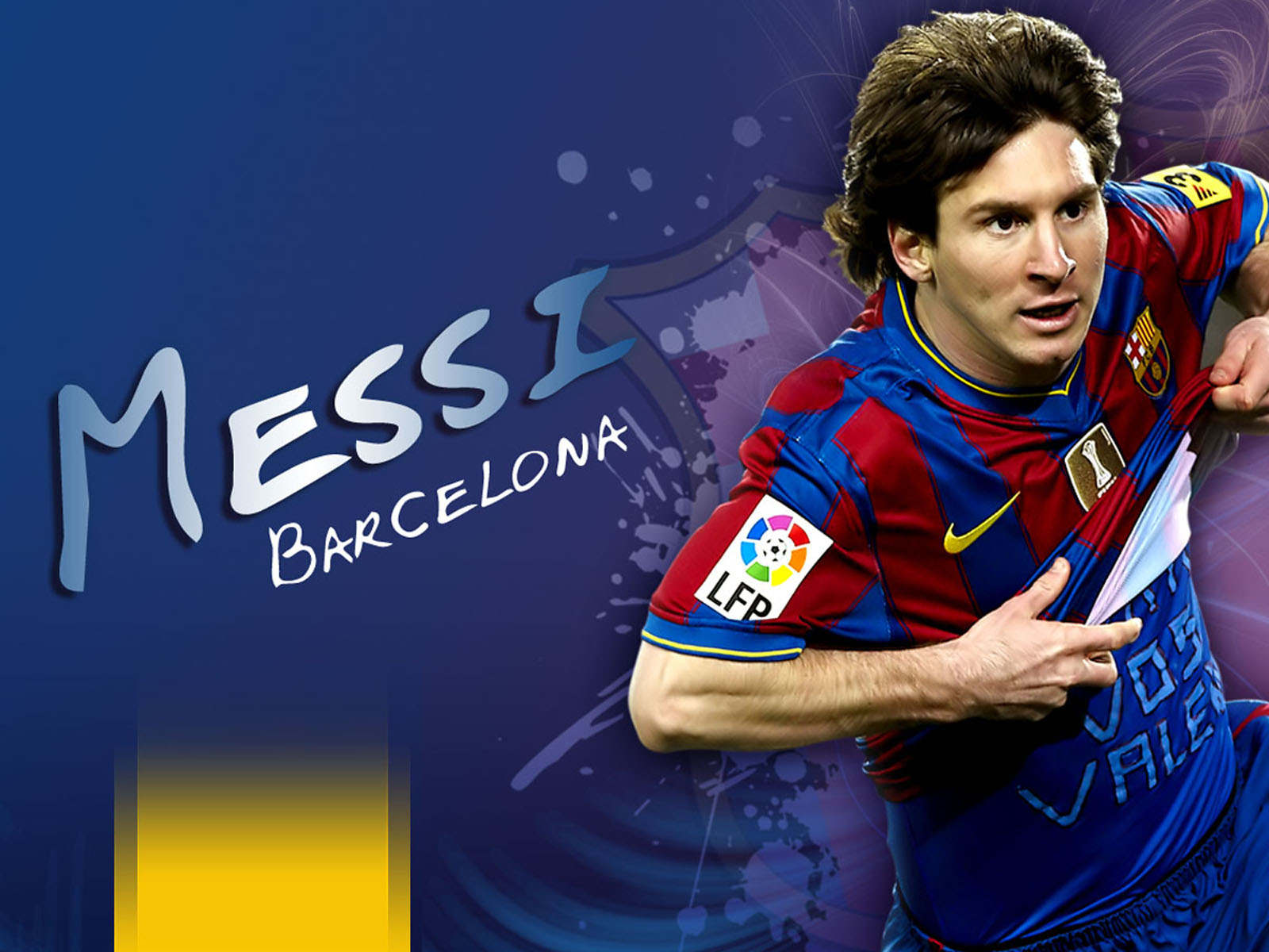 messi barcelona hd wallpaper lionel messi lionel messi with football 1600x1200