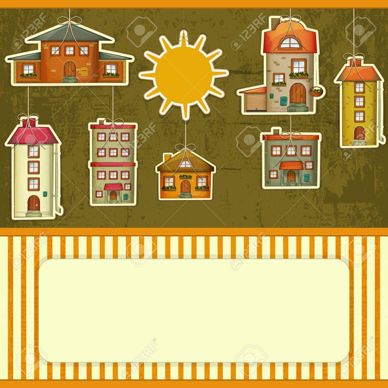 Set Of Houses Retro Card Cartoon Homes And Sun On Vintage 1300x1300