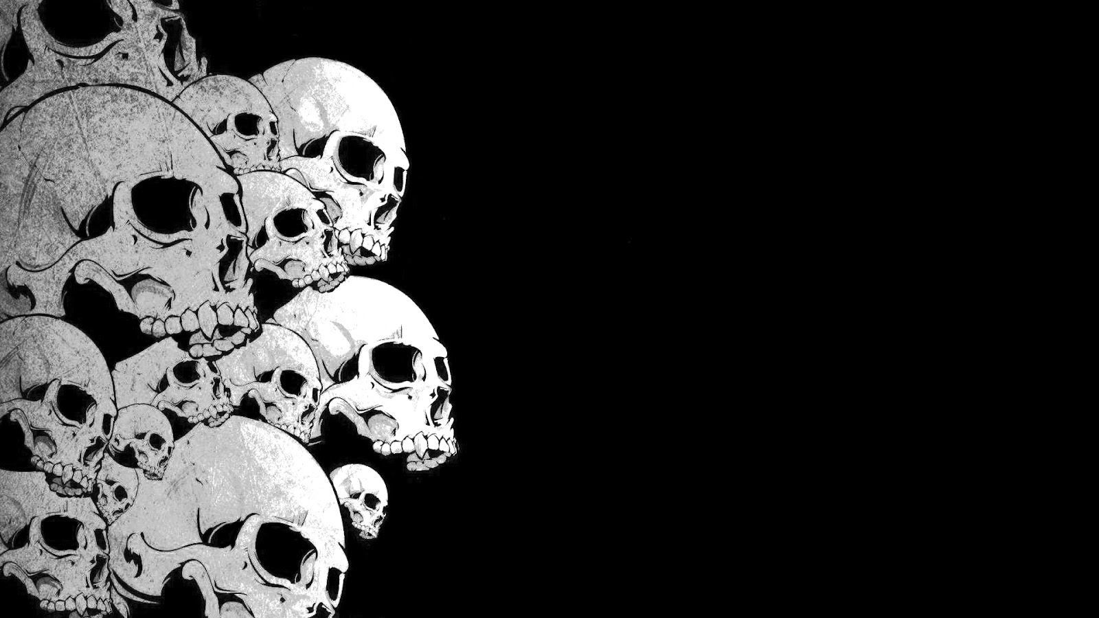 desktop wallpapers   skull   black and white 1600x900
