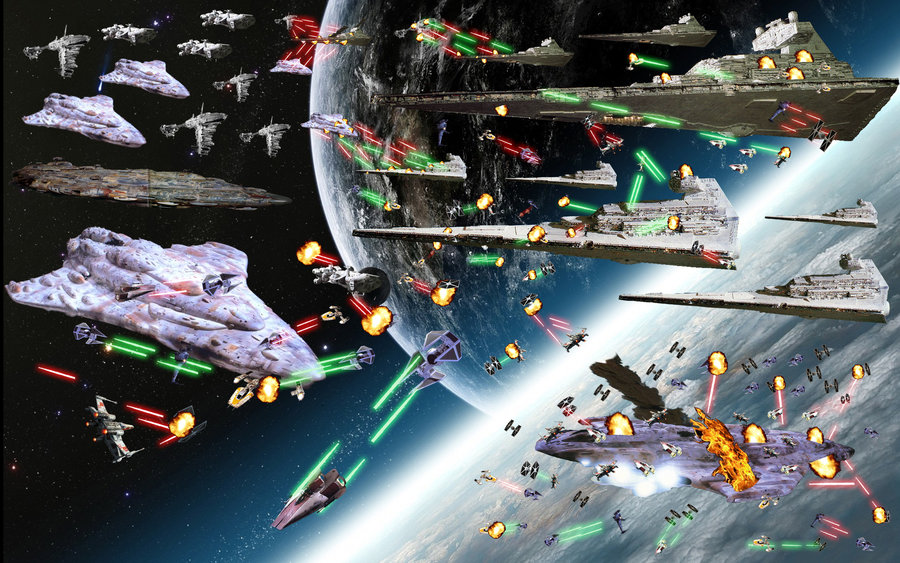 Star wars space battle of Earth by AskAsumotoYoshikage 900x563