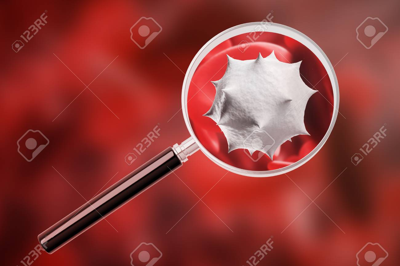 Magnifying Glass On Virus Cell Over Human Blood Background 1300x866