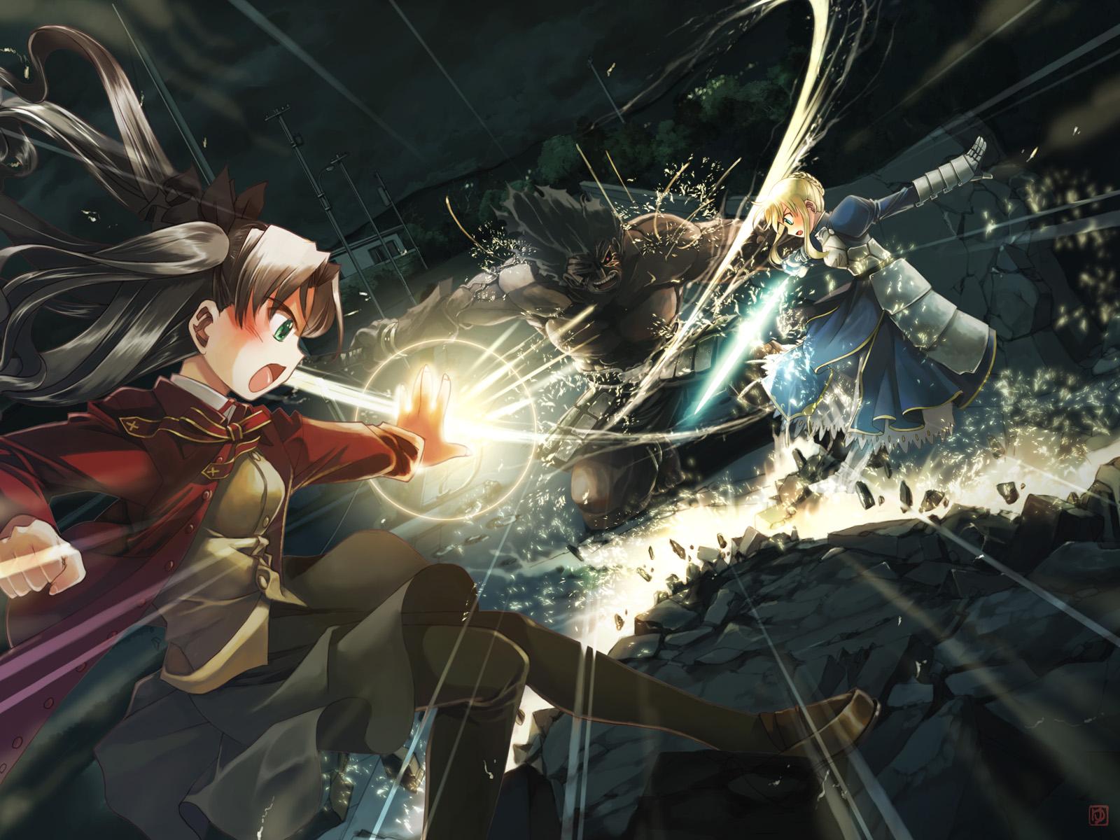 Fate StayNight Black Armor Sword Girl Anime Fighting HD Wallpaper 1600x1200