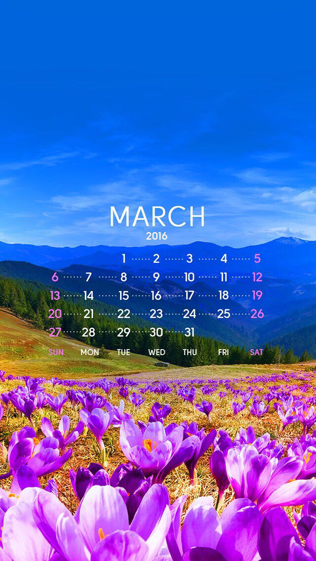 Wallpaper calendar March 2016 2016 Calendar Calendar 640x1136