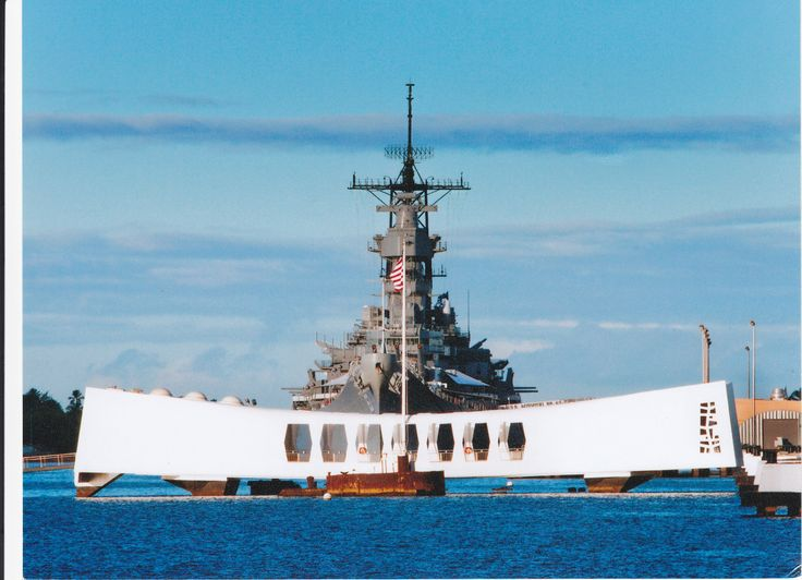 Arizona Memorial and the USS Missouri in the background   Pearl Harbor 736x532