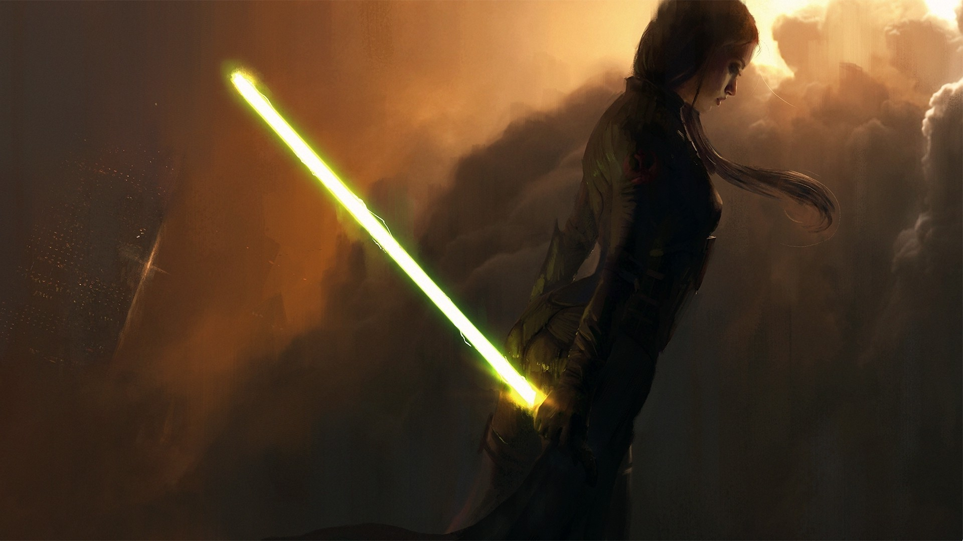 Female Jedi Yellow Lightsaber   1920x1080   Download HD Wallpaper 1920x1080