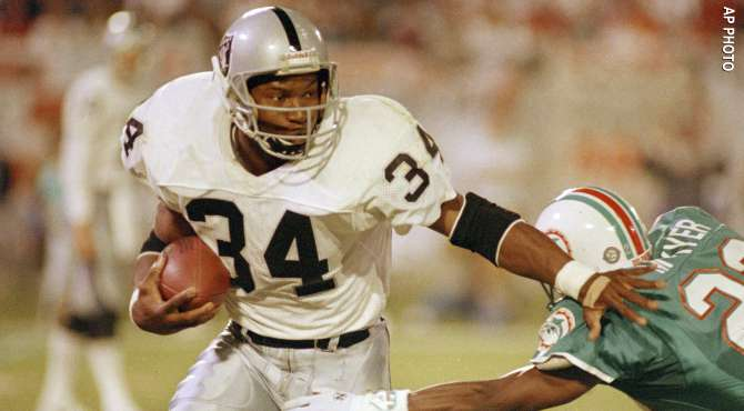 RB Bo Jackson recorded two of the longest runs in Raiders history AP 670x370