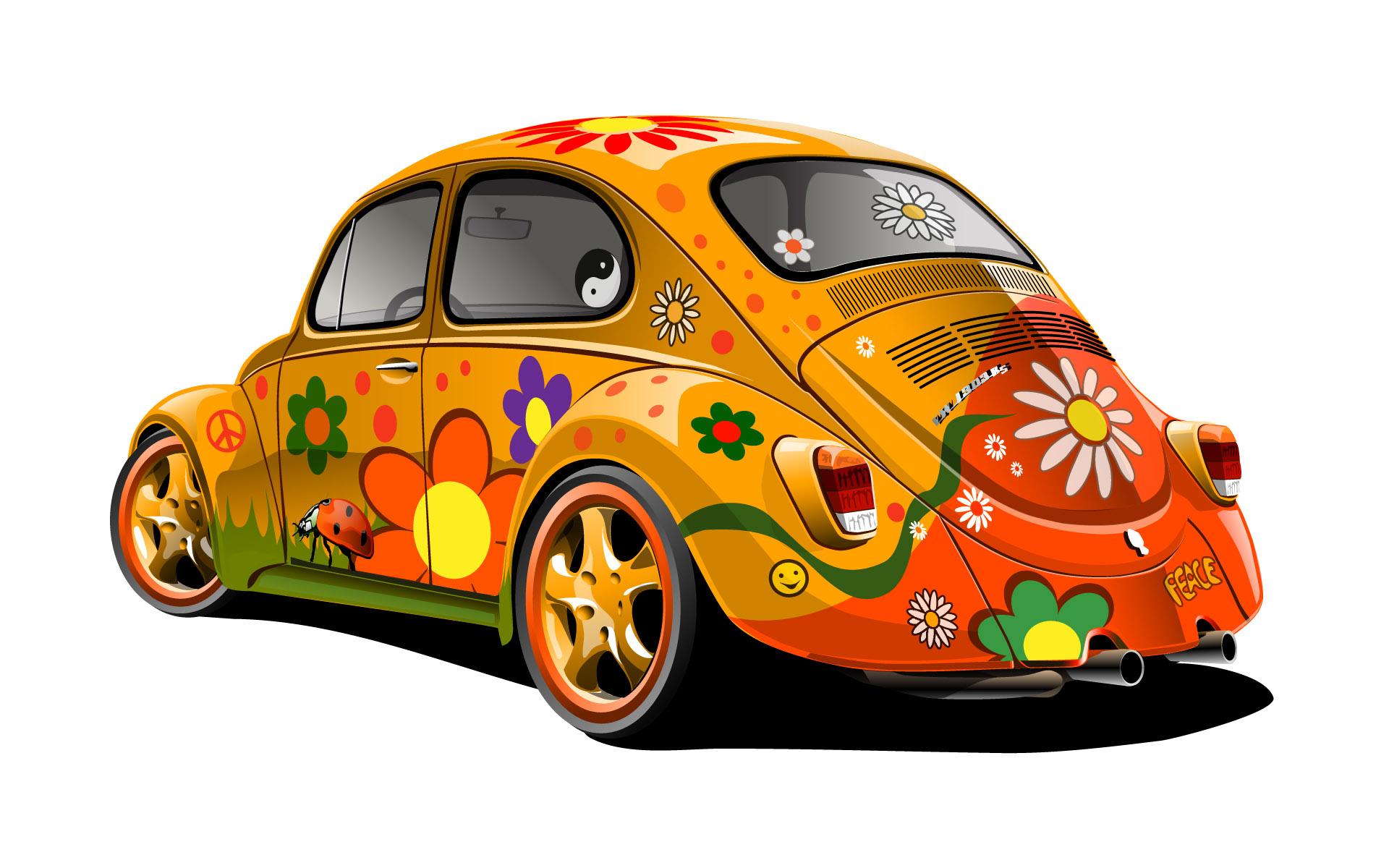 colorful hippie vw beetle wallpaper wide 1920x1200