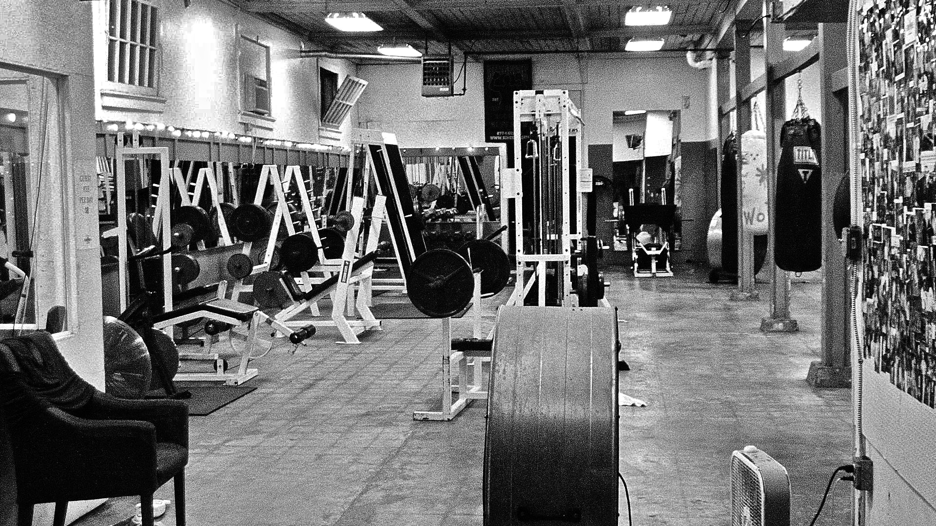 Weight Room Black And White Wallpaper