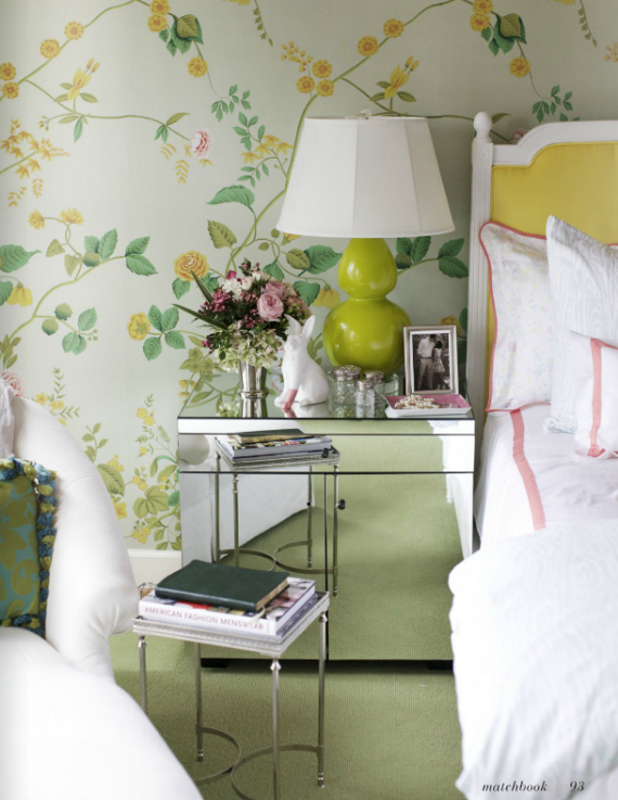 green and yellow floral wallpaper bedroom   Simplified Bee 570x737