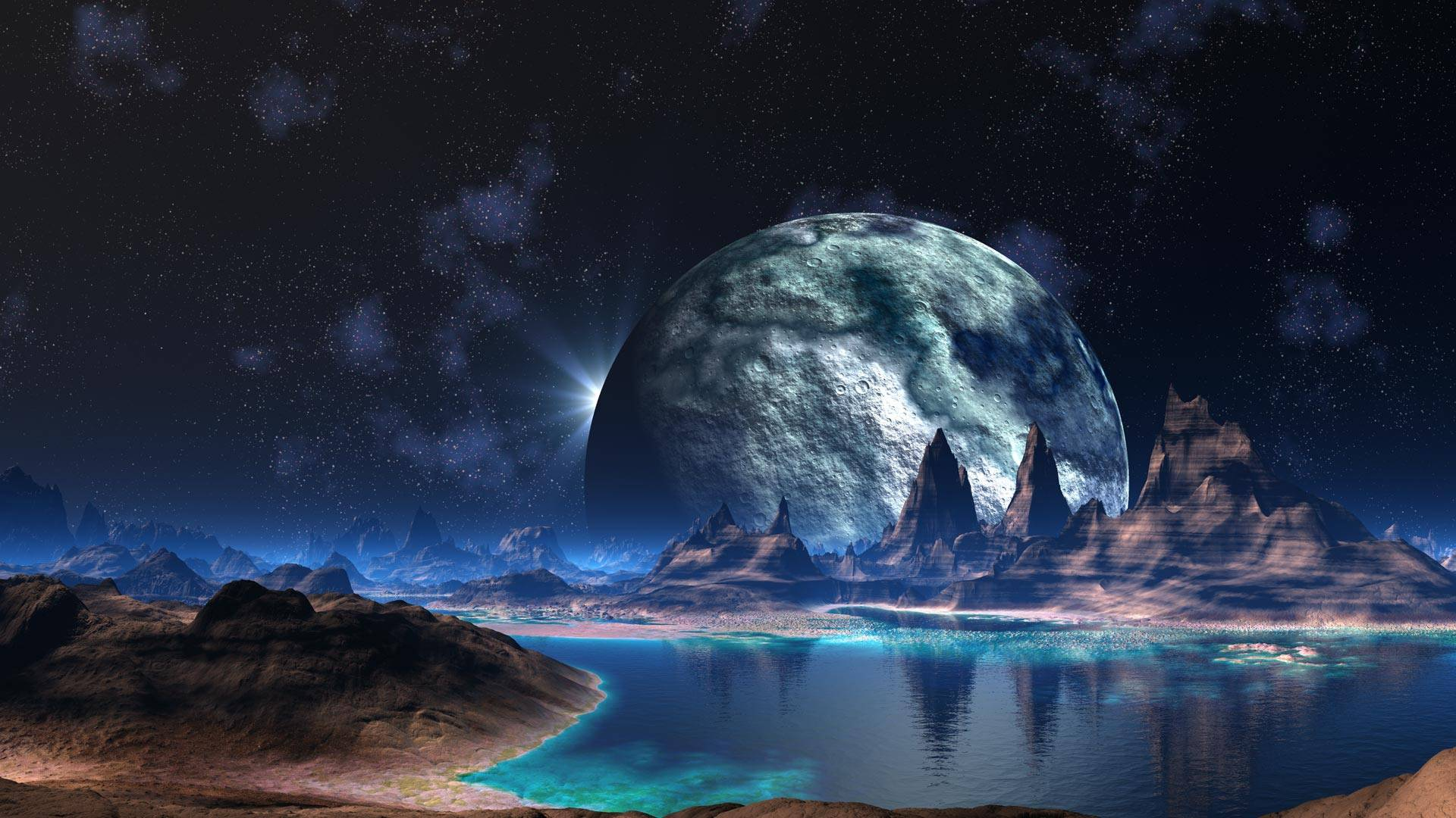Alien Landscape Planet Stars Lake sci fi space reflection mountains 1920x1080